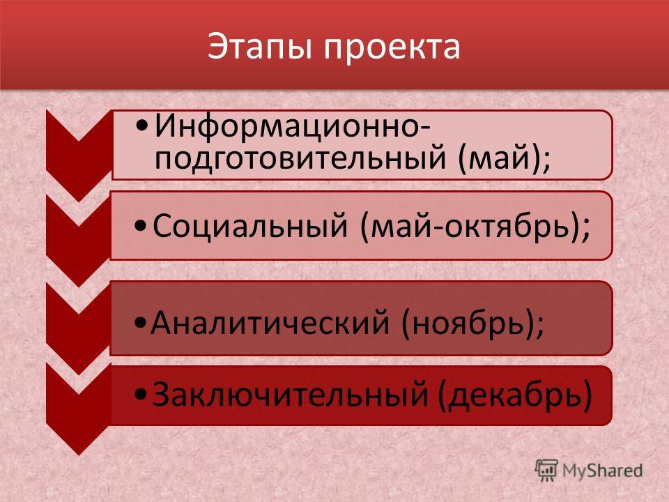 Информационно- подготовительный (май); Социальный (май-октябрь) ; Аналитический (ноябрь); Заключительный (декабрь) Этапы проекта