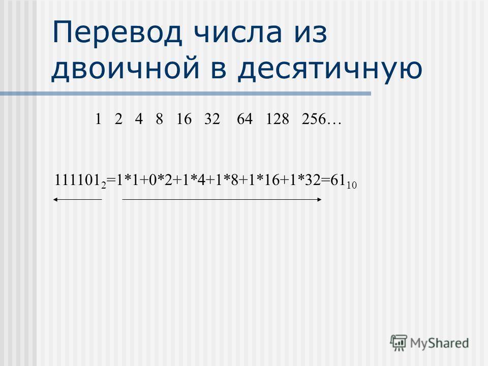 Перевод числа из двоичной в десятичную 1 2 4 8 16 32 64 128 256… 111101 2 =1*1+0*2+1*4+1*8+1*16+1*32=61 10