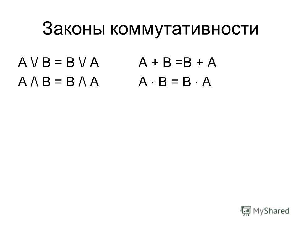 Законы коммутативности A \/ B = B \/ AA + B =B + A A /\ B = B /\ AA B = B A