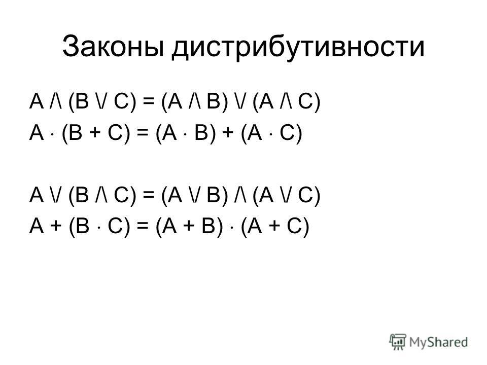 Законы дистрибутивности A /\ (B \/ C) = (A /\ B) \/ (A /\ C) A (B + C) = (A B) + (A C) A \/ (B /\ C) = (A \/ B) /\ (A \/ C) A + (B C) = (A + B) (A + C)