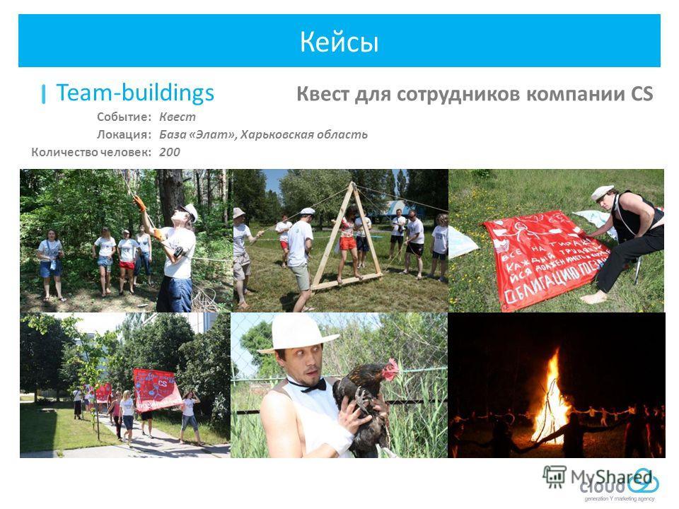 Team-buildings Квест для сотрудников компании CS Квест База «Элат», Харьковская область 200 Событие: Локация: Количество человек: