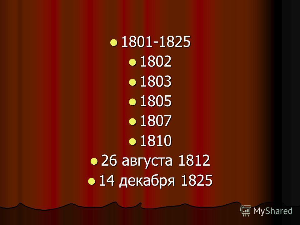 1801-1825 1801-1825 1802 1802 1803 1803 1805 1805 1807 1807 1810 1810 26 августа 1812 26 августа 1812 14 декабря 1825 14 декабря 1825
