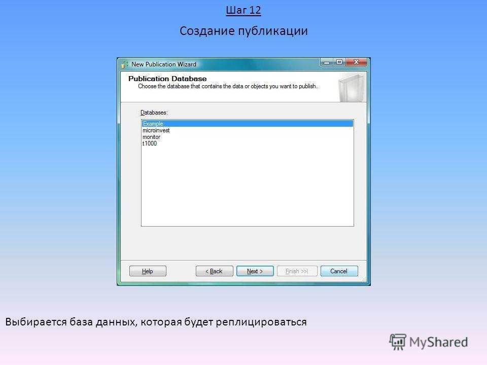 Создание публикации Выбирается база данных, которая будет реплицироваться Шаг 12