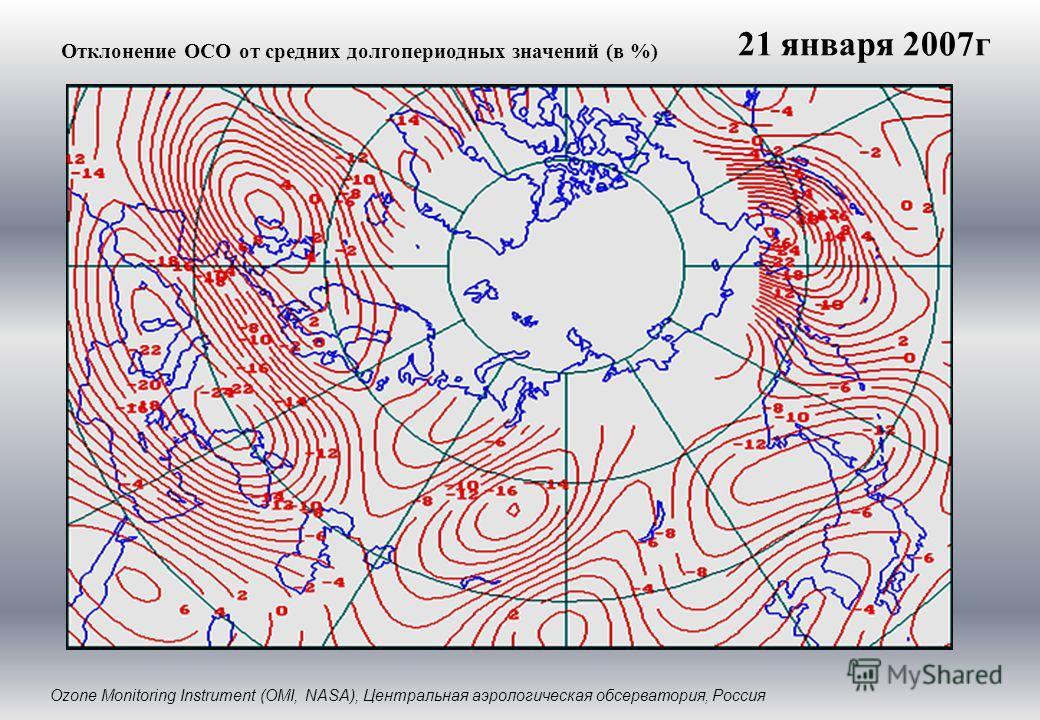 Отклонение ОСО от средних долгопериодных значений (в %) Ozone Monitoring Instrument (OMI, NASA), Центральная аэрологическая обсерватория, Россия 21 января 2007г