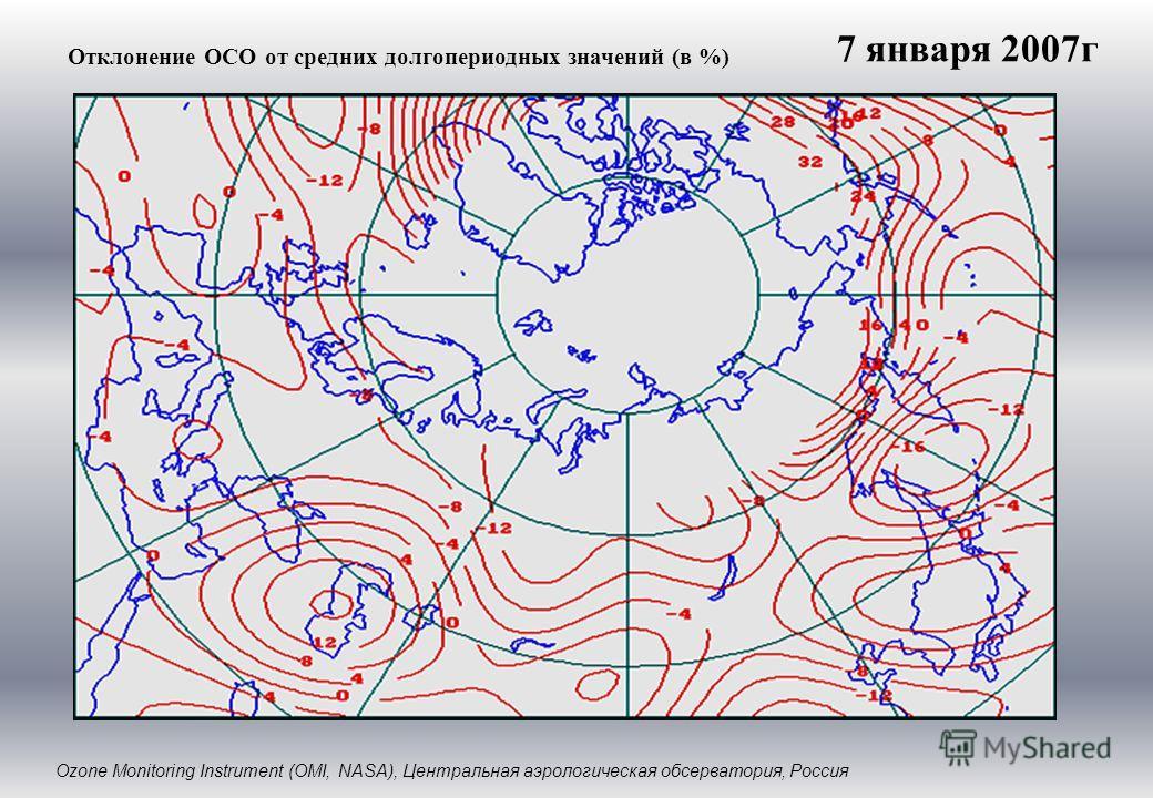 Отклонение ОСО от средних долгопериодных значений (в %) Ozone Monitoring Instrument (OMI, NASA), Центральная аэрологическая обсерватория, Россия 7 января 2007г