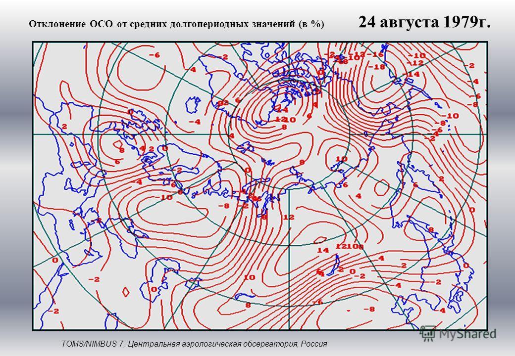 Отклонение ОСО от средних долгопериодных значений (в %) TOMS/NIMBUS 7, Центральная аэрологическая обсерватория, Россия 24 августа 1979г.