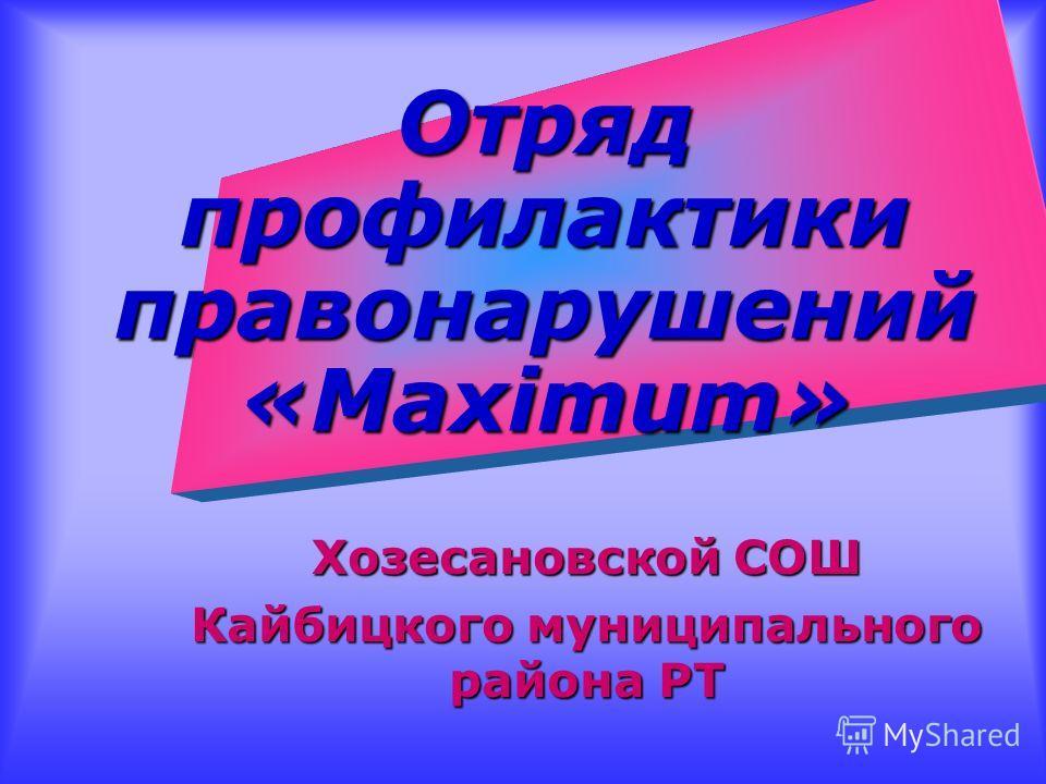 Отряд профилактики правонарушений «Maximum» Хозесановской СОШ Кайбицкого муниципального района РТ