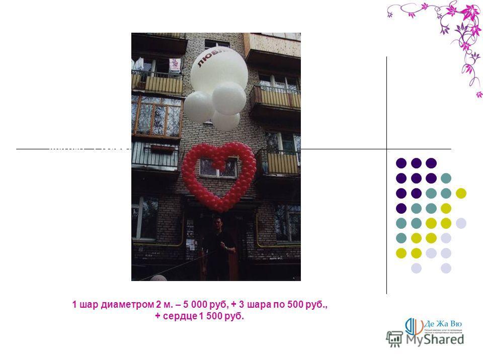 1 фонарик на каркасе – 1. 500 руб. 1 пучок из шаров – 500 руб., + гирлянда – 400 руб., + ткань от 400 руб. 1м. 1 пучок из шаров с большим шаров – 800 руб., + гирлянда – 400 руб., + ткань от 400 руб. 1м. 1 шар диаметром 2 м. – 5 000 руб, + 3 шара по 5