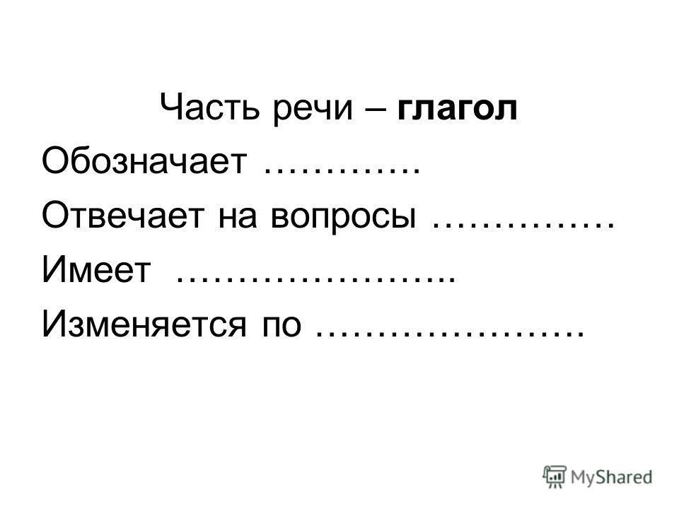 Часть речи – глагол Обозначает …………. Отвечает на вопросы …………… Имеет ………………….. Изменяется по ………………….