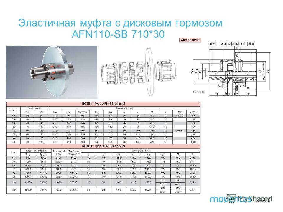 Эластичная муфта с дисковым тормозом AFN110-SB 710*30