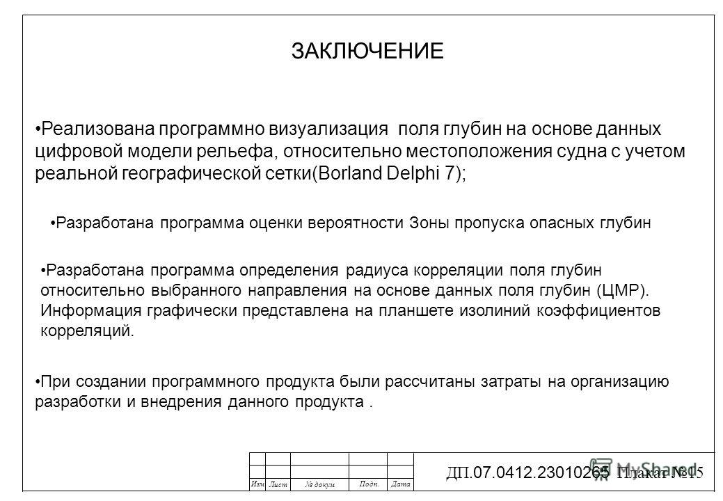 Изм Лист докум Подп.Дата ДП. 07.0412.23010265 Плакат 15 ЗАКЛЮЧЕНИЕ Реализована программно визуализация поля глубин на основе данных цифровой модели рельефа, относительно местоположения судна с учетом реальной географической сетки(Borland Delphi 7); Р