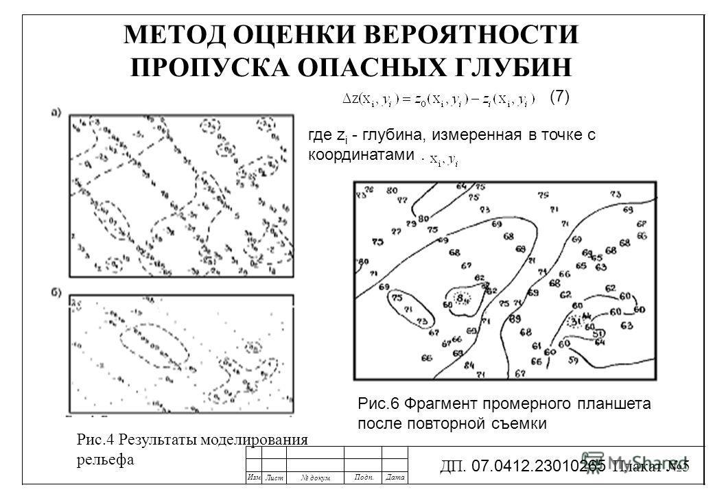 МЕТОД ОЦЕНКИ ВЕРОЯТНОСТИ ПРОПУСКА ОПАСНЫХ ГЛУБИН Рис.6 Фрагмент промерного планшета после повторной съемки Рис.4 Результаты моделирования рельефа Изм Лист докум Подп.Дата ДП. 07.0412.23010265 Плакат 5 (7) где z i - глубина, измеренная в точке с коорд