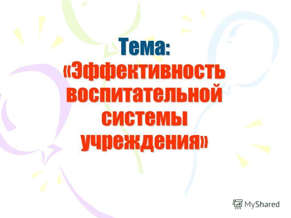 Тема: «Эффективность воспитательной системы учреждения»