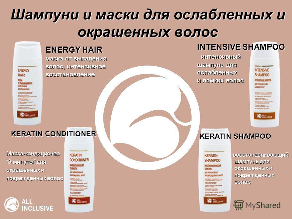 Шампуни и маски для ослабленных и окрашенных волос ENERGY HAIR маска от выпадения волос, интенсивное восстановление Маска-кондиционер 3 минуты для окрашенных и поврежденных волос INTENSIVE SHAMPOO интенсивный интенсивный шампунь для ослабленных и лом