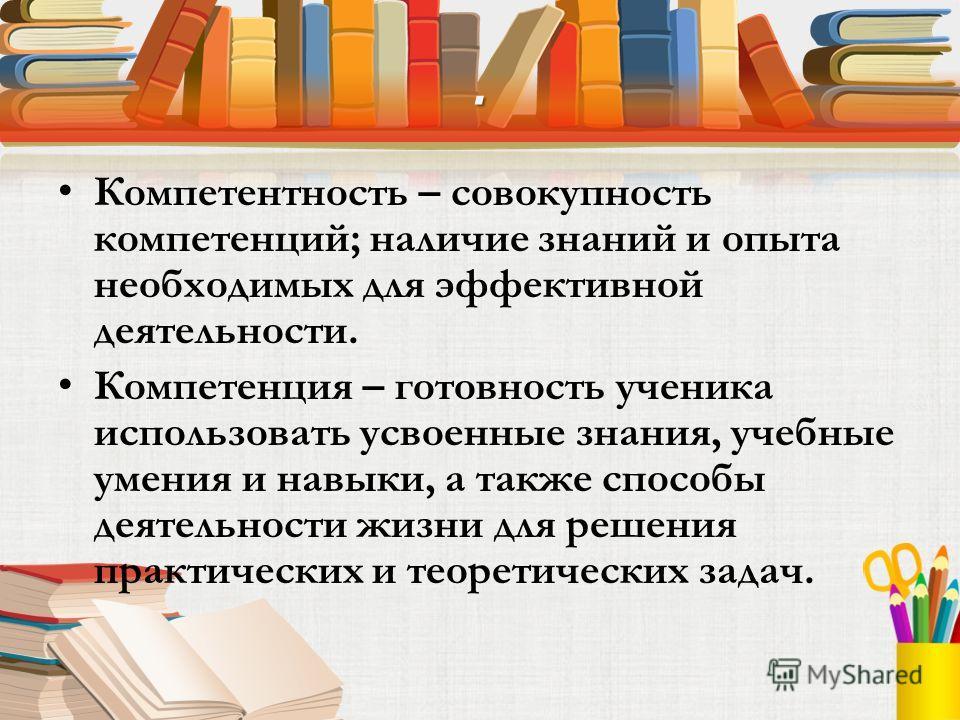 . Компетентность – совокупность компетенций; наличие знаний и опыта необходимых для эффективной деятельности. Компетенция – готовность ученика использовать усвоенные знания, учебные умения и навыки, а также способы деятельности жизни для решения прак