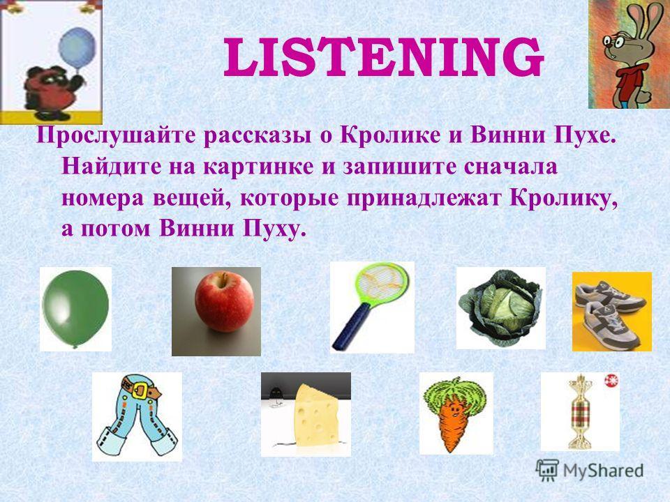 LISTENING Прослушайте рассказы о Кролике и Винни Пухе. Найдите на картинке и запишите сначала номера вещей, которые принадлежат Кролику, а потом Винни Пуху.