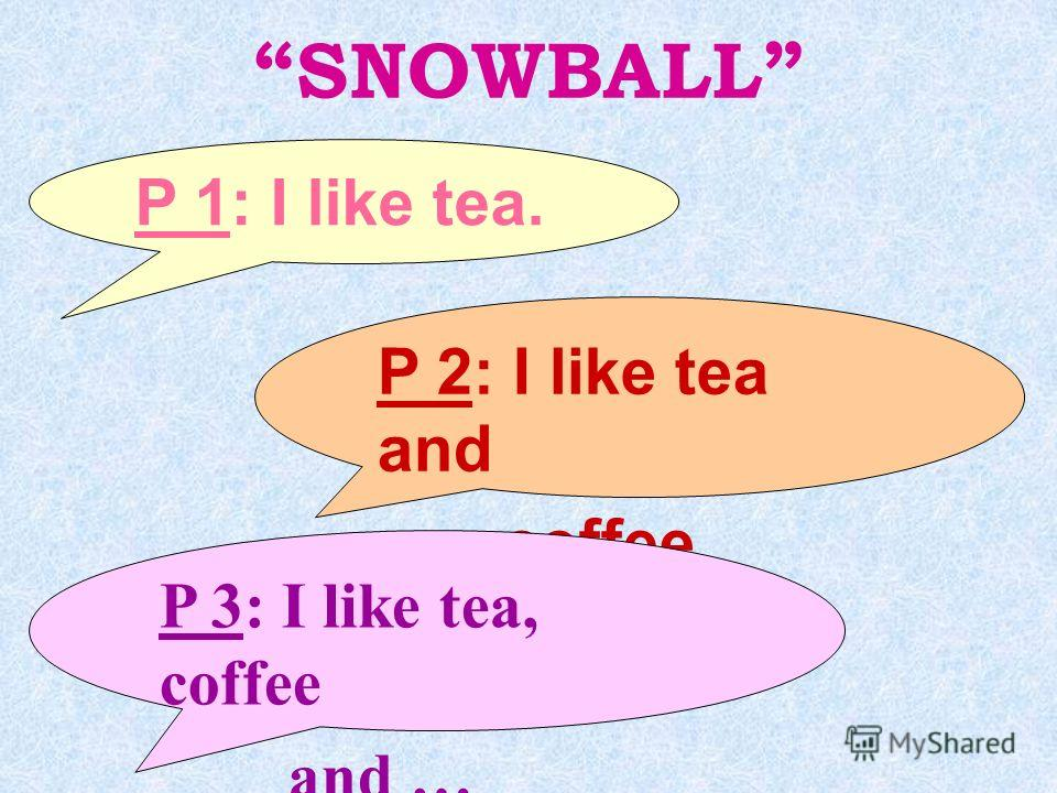 SNOWBALL P 1: I like tea. P 2: I like tea and coffee. P 3: I like tea, coffee and …