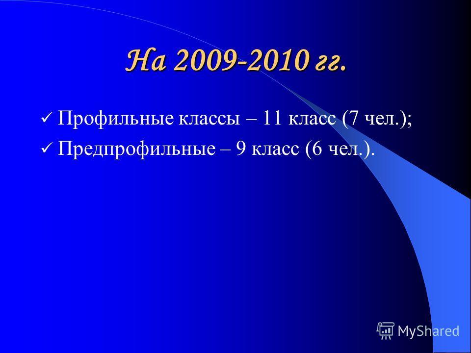 На 2009-2010 гг. Профильные классы – 11 класс (7 чел.); Предпрофильные – 9 класс (6 чел.).