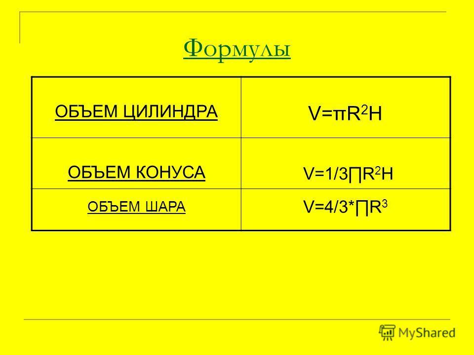 Формулы ОБЪЕМ ЦИЛИНДРА V=πR 2 H ОБЪЕМ КОНУСА V=1/3R 2 H ОБЪЕМ ШАРА V=4/3*R 3