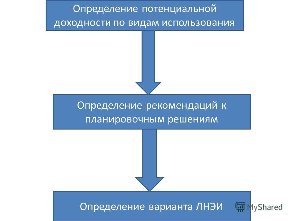 Определение потенциальной доходности по видам использования Определение рекомендаций к планировочным решениям Определение варианта ЛНЭИ