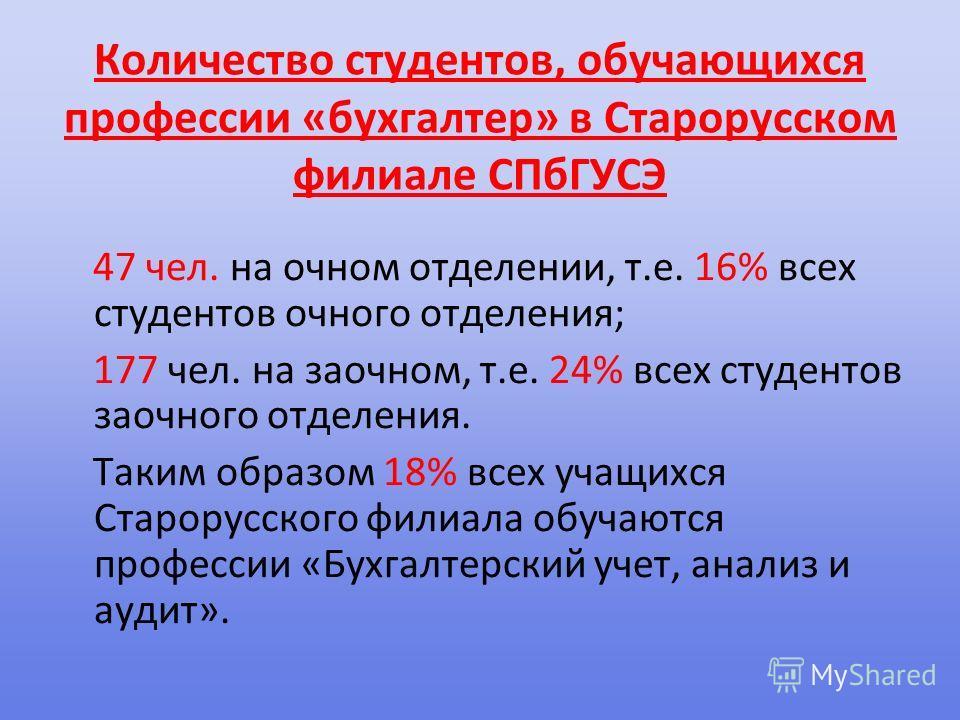 Количество студентов, обучающихся профессии «бухгалтер» в Старорусском филиале СПбГУСЭ 47 чел. на очном отделении, т.е. 16% всех студентов очного отделения; 177 чел. на заочном, т.е. 24% всех студентов заочного отделения. Таким образом 18% всех учащи