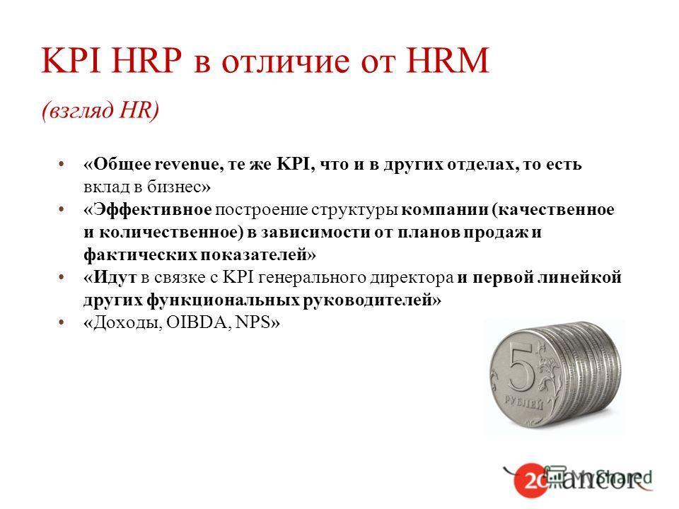 KPI HRP в отличие от HRM (взгляд HR) «Общее revenue, те же KPI, что и в других отделах, то есть вклад в бизнес» «Эффективное построение структуры компании (качественное и количественное) в зависимости от планов продаж и фактических показателей» «Идут