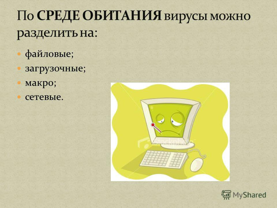 файловые; загрузочные; макро; сетевые.