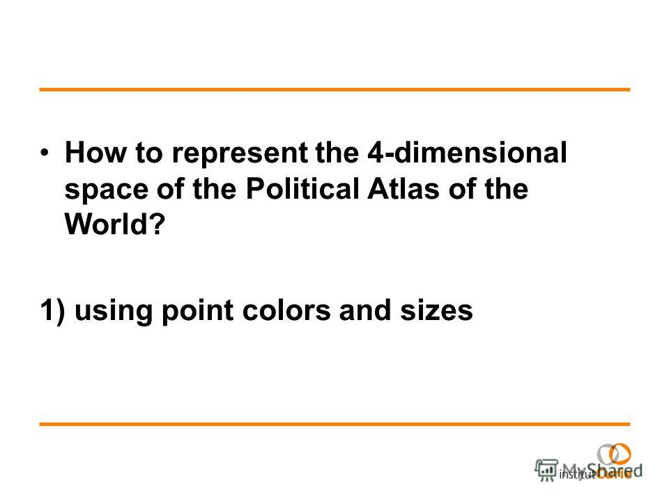 How to represent the 4-dimensional space of the Political Atlas of the World? 1) using point colors and sizes