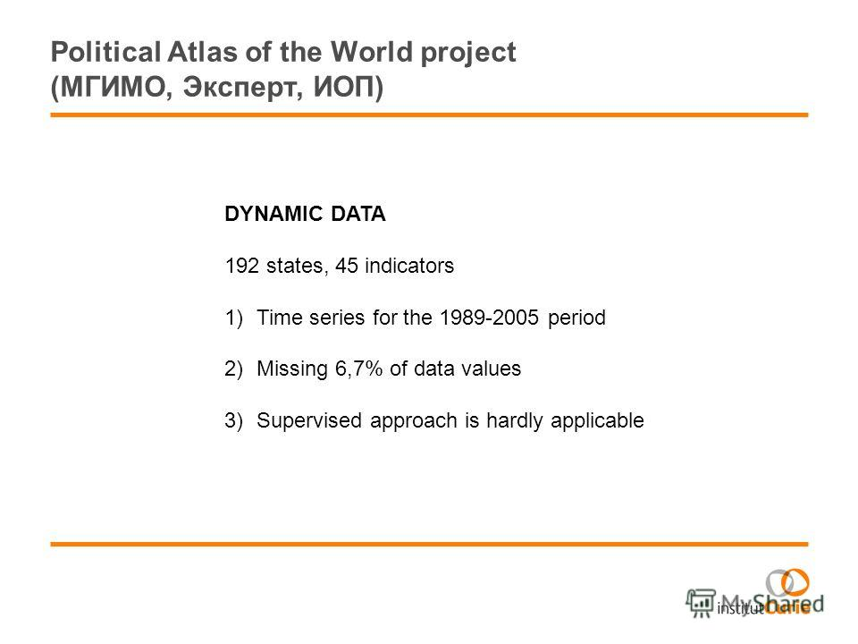 Political Atlas of the World project (МГИМО, Эксперт, ИОП) DYNAMIC DATA 192 states, 45 indicators 1)Time series for the 1989-2005 period 2)Missing 6,7% of data values 3)Supervised approach is hardly applicable