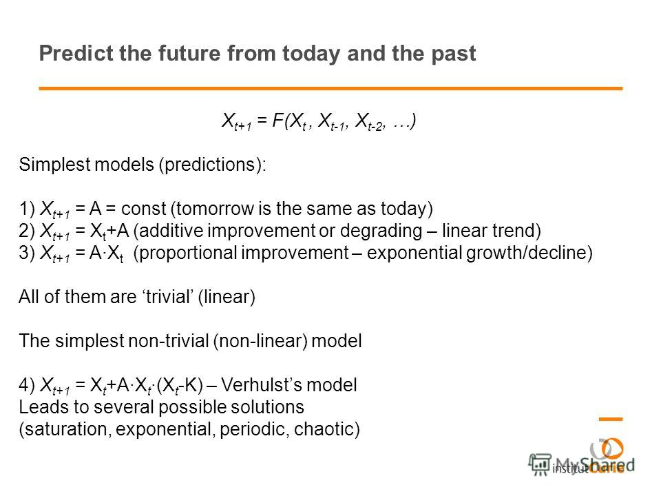 Predict the future from today and the past X t+1 = F(X t, X t-1, X t-2, …) Simplest models (predictions): 1) X t+1 = A = const (tomorrow is the same as today) 2) X t+1 = X t +A (additive improvement or degrading – linear trend) 3) X t+1 = A·X t (prop