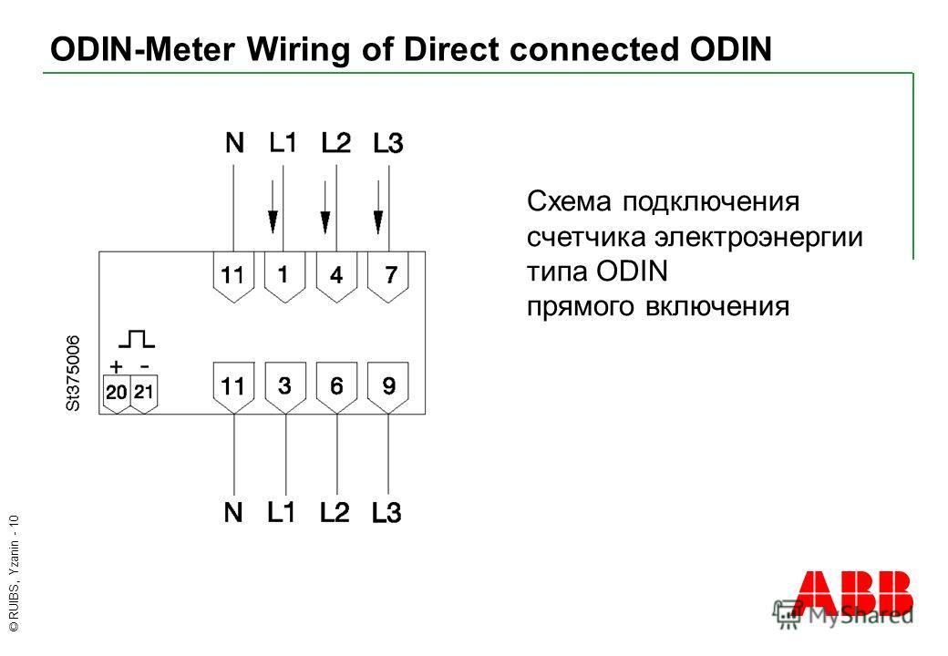 © RUIBS, Yzanin - 10 ODIN-Meter Wiring of Direct connected ODIN Схема подключения cчетчика электроэнергии типа ODIN прямого включения