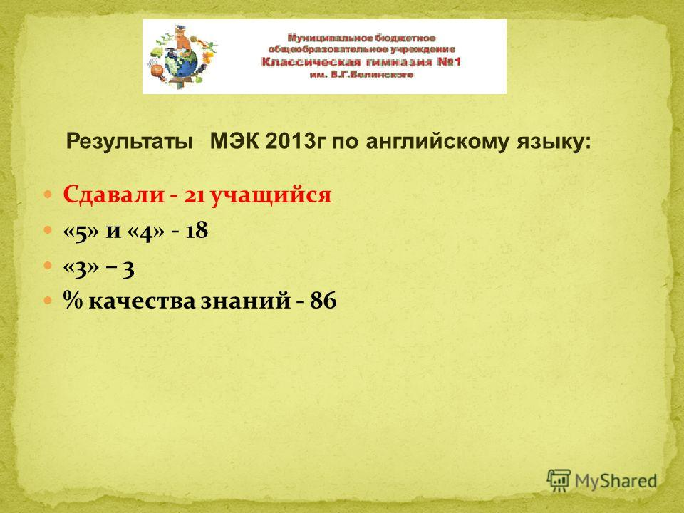 Сдавали - 21 учащийся «5» и «4» - 18 «3» – 3 % качества знаний - 86 Результаты МЭК 2013г по английскому языку: