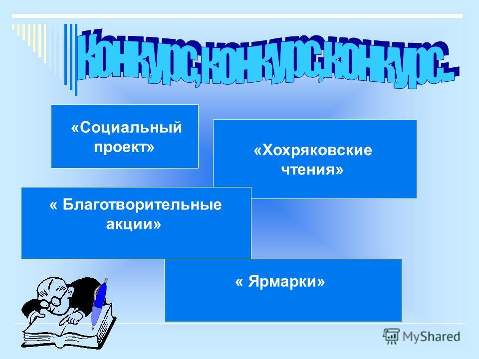 «Социальный проект» «Хохряковские чтения» « Благотворительные акции» « Ярмарки»