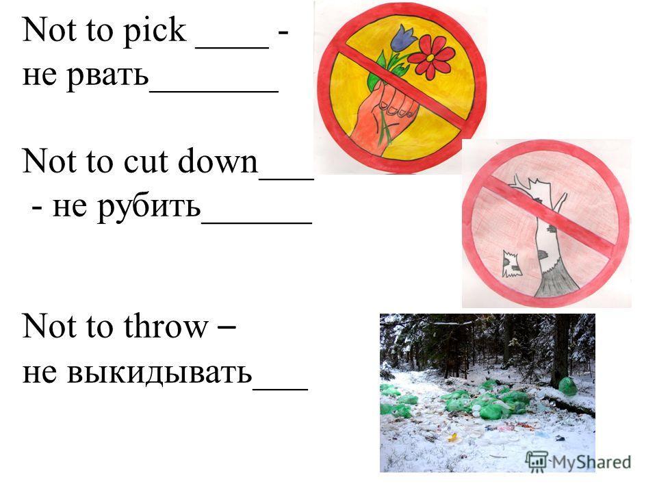 Not to pick ____ - не рвать_______ Not to cut down___ - не рубить______ Not to throw – не выкидывать___
