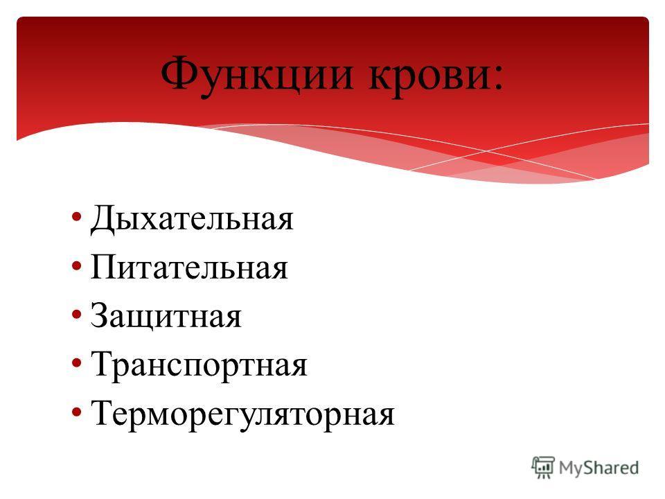 Дыхательная Питательная Защитная Транспортная Терморегуляторная Функции крови: