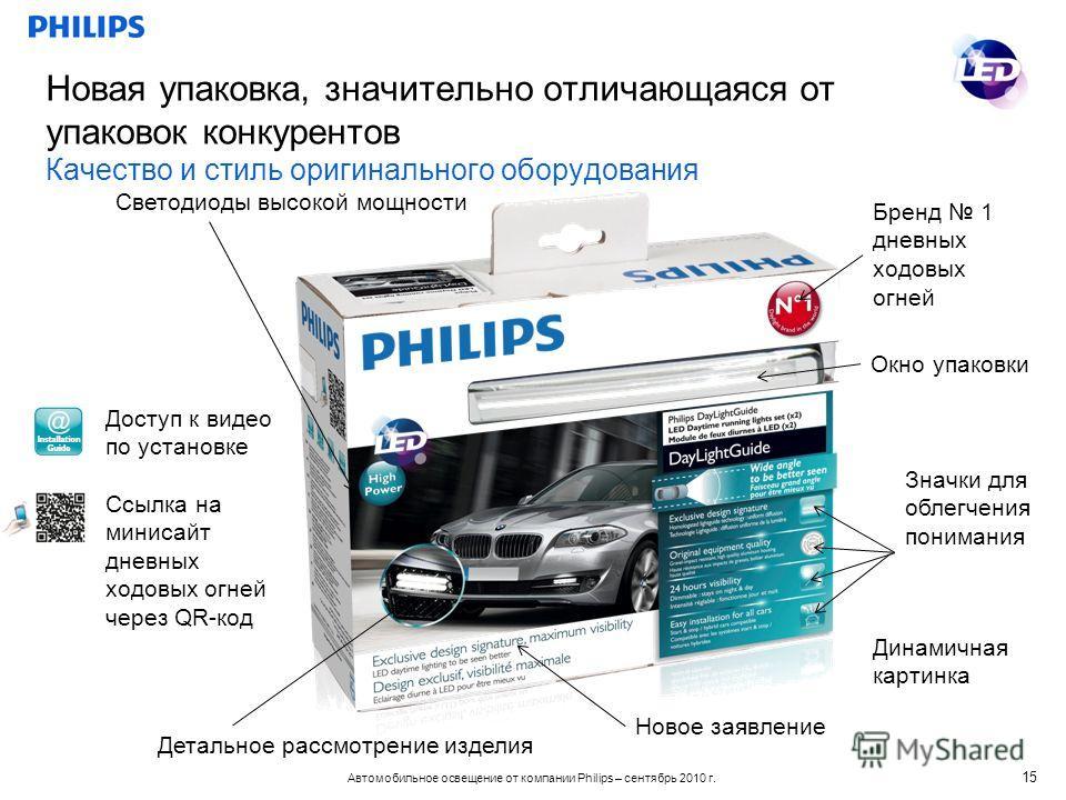 Автомобильное освещение от компании Philips – сентябрь 2010 г. Новая упаковка, значительно отличающаяся от упаковок конкурентов Качество и стиль оригинального оборудования 15 Бренд 1 дневных ходовых огней Детальное рассмотрение изделия Динамичная кар
