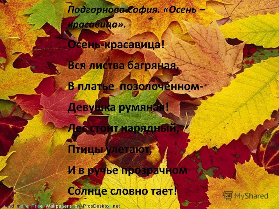 Подгорнова София. «Осень – красавица». Осень-красавица! Вся листва багряная, В платье позолоченном- Девушка румяная! Лес стоит нарядный, Птицы улетают, И в ручье прозрачном Солнце словно тает!