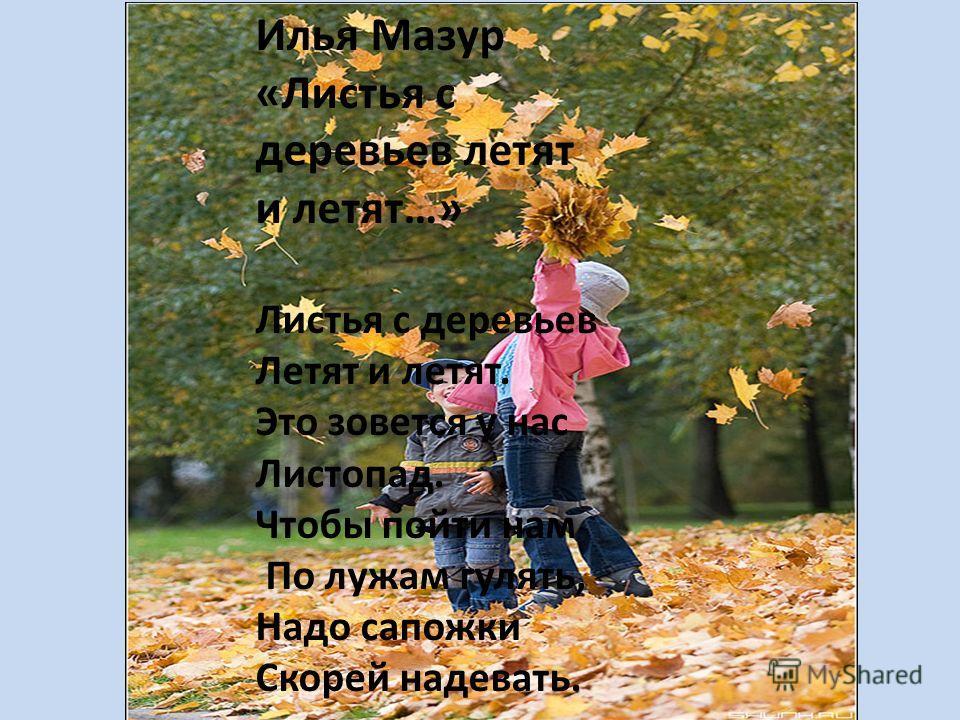 Илья Мазур «Листья с деревьев летят и летят…» Листья с деревьев Летят и летят. Это зовется у нас Листопад. Чтобы пойти нам По лужам гулять, Надо сапожки Скорей надевать.