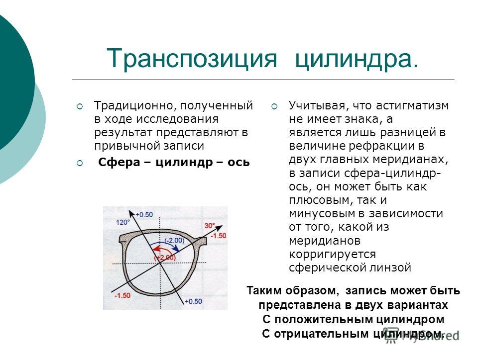 Транспозиция цилиндра. Традиционно, полученный в ходе исследования результат представляют в привычной записи Сфера – цилиндр – ось Учитывая, что астигматизм не имеет знака, а является лишь разницей в величине рефракции в двух главных меридианах, в за