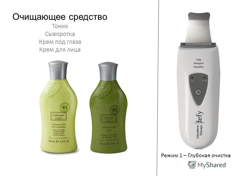 Режим 1 – Глубокая очистка Очищающее средство Тоник Сыворотка Крем под глаза Крем для лица