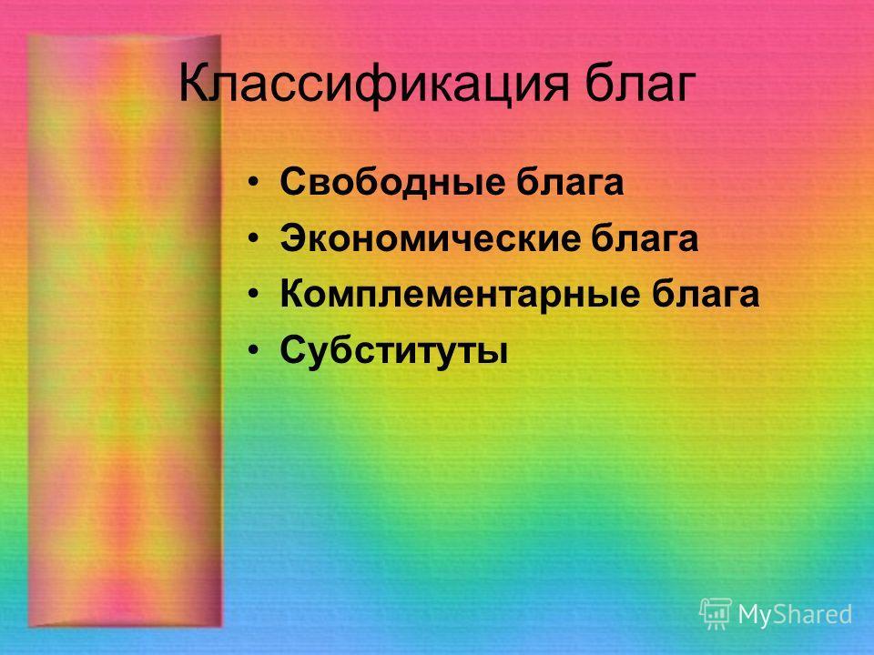 Классификация благ Свободные блага Экономические блага Комплементарные блага Субституты