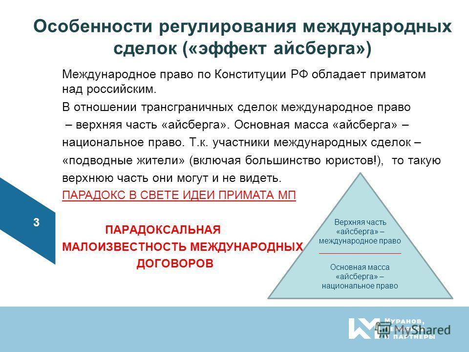 Особенности регулирования международных сделок («эффект айсберга») Международное право по Конституции РФ обладает приматом над российским. В отношении трансграничных сделок международное право – верхняя часть «айсберга». Основная масса «айсберга» – н