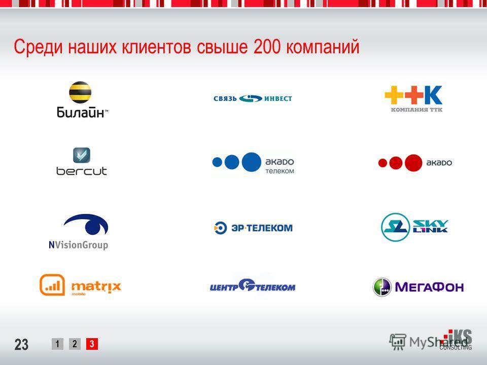 123 23 Среди наших клиентов свыше 200 компаний