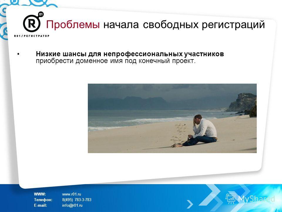 Проблемы начала свободных регистраций Низкие шансы для непрофессиональных участников приобрести доменное имя под конечный проект. WWW:www.r01.ru Телефон:8(495) 783-3-783 E-mail:info@r01.ru