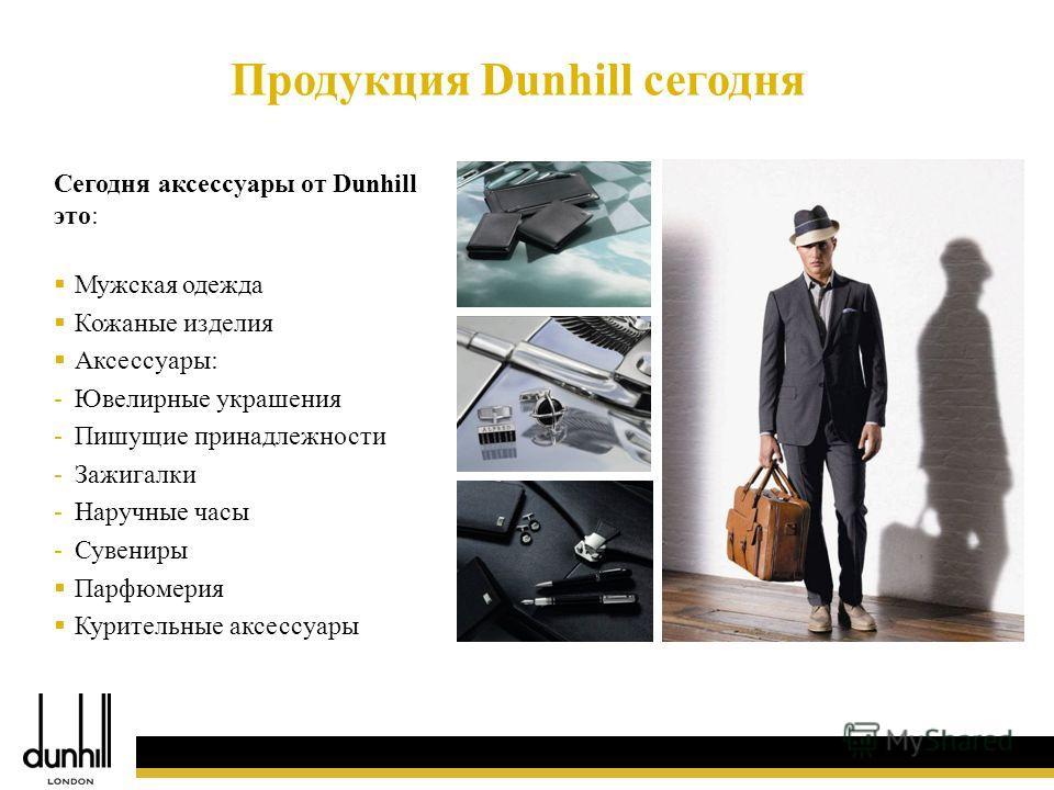 11 Сегодня аксессуары от Dunhill это: Мужская одежда Кожаные изделия Аксессуары: -Ювелирные украшения -Пишущие принадлежности -Зажигалки -Наручные часы -Сувениры Парфюмерия Курительные аксессуары Продукция Dunhill сегодня