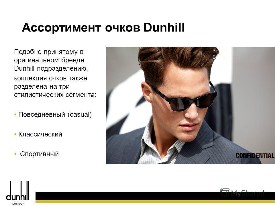 26 Подобно принятому в оригинальном бренде Dunhill подразделению, коллекция очков также разделена на три стилистических сегмента: Повседневный (casual) Классический Спортивный Ассортимент очков Dunhill