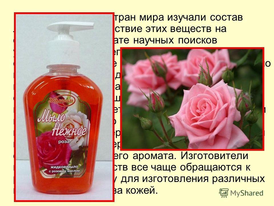 Роза Ученые многих стран мира изучали состав лепестков розы, действие этих веществ на организм. В результате научных поисков установили, что в лепестках розы имеются сложные химические соединения. Они благотворно влияют на кожу рук, делают ее более м