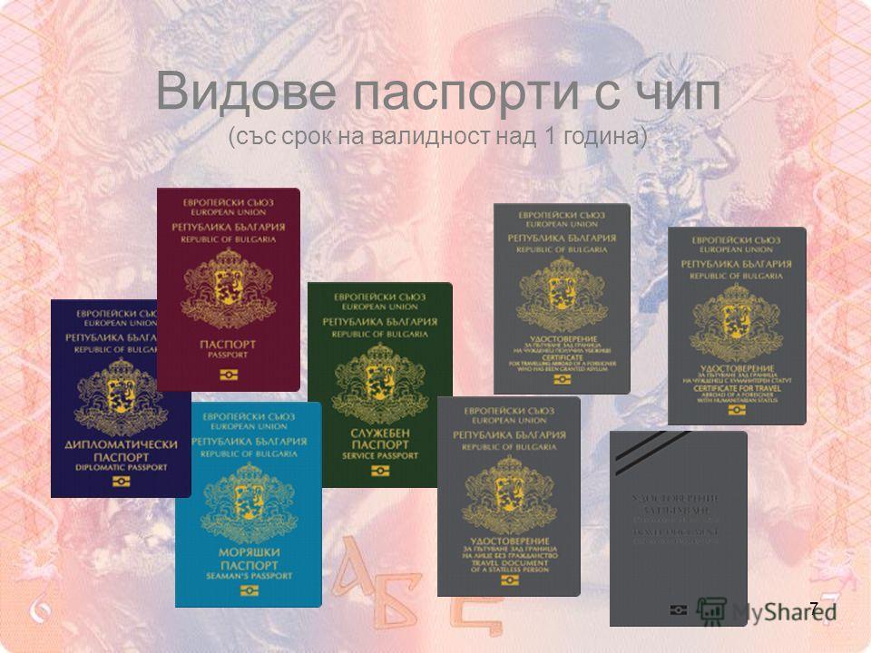7 Видове паспорти с чип (със срок на валидност над 1 година)
