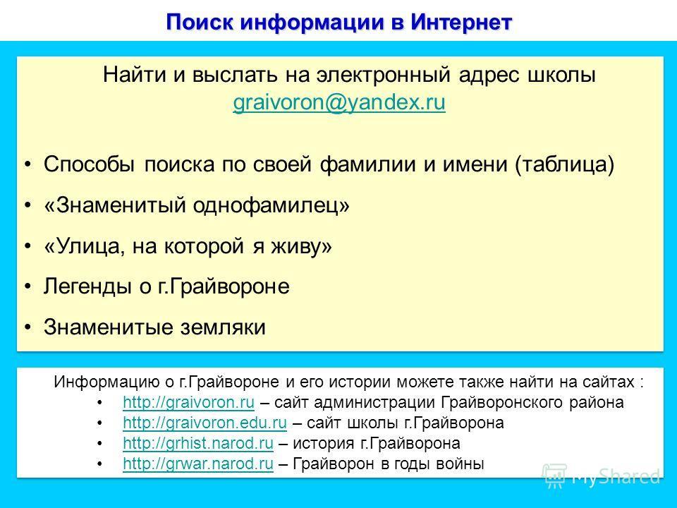 Поиск информации в Интернет Найти и выслать на электронный адрес школы graivoron@yandex.ru graivoron@yandex.ru Способы поиска по своей фамилии и имени (таблица) «Знаменитый однофамилец» «Улица, на которой я живу» Легенды о г.Грайвороне Знаменитые зем