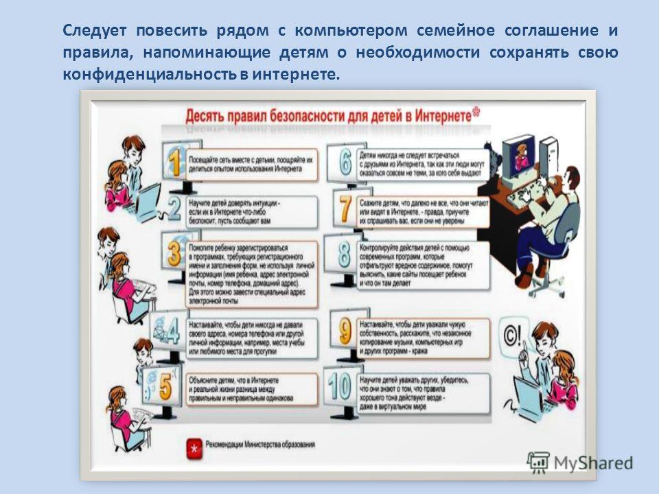 Следует повесить рядом с компьютером семейное соглашение и правила, напоминающие детям о необходимости сохранять свою конфиденциальность в интернете.